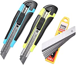 Fatmingo 18mm Retractable Utility Knife Auto Lock Snap Off Blades Box Cutter with 10 SK-
