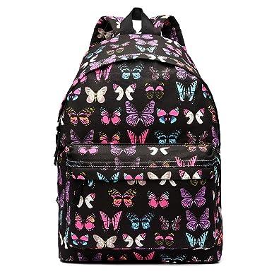 Butterfly Flower Polka Dot Scottie Dog Retro Fashion Backpack Rucksack  (Butterfly Black) e1e9093ba3