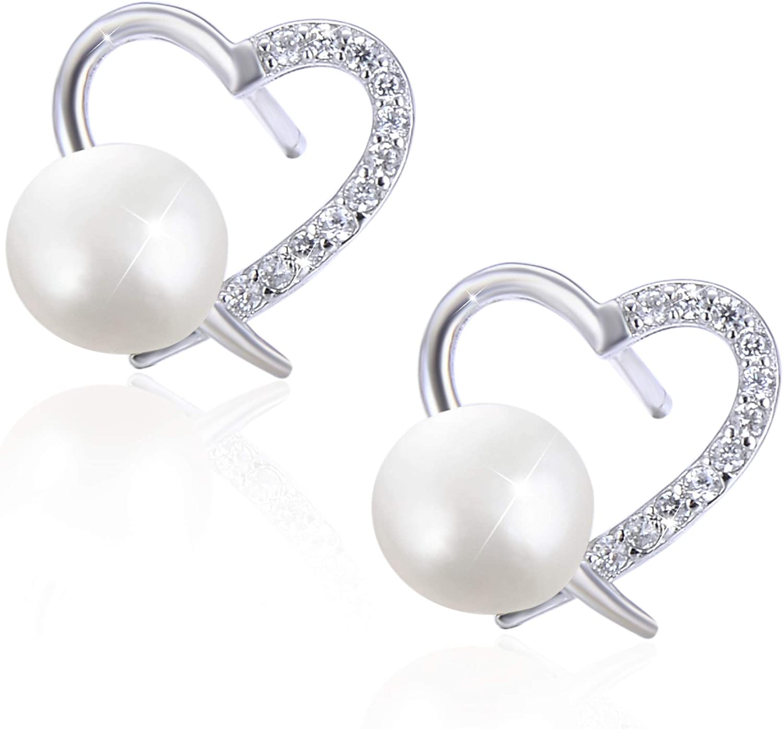 PEARLOVE Aretes de Perlas de Agua Dulce para Mujer, Pendientes de Perlas en Forma de Corazón de Plata de ley 925 Hipoalergénicos, Regalo de Cumpleaños de Navidad con Caja de Regalo