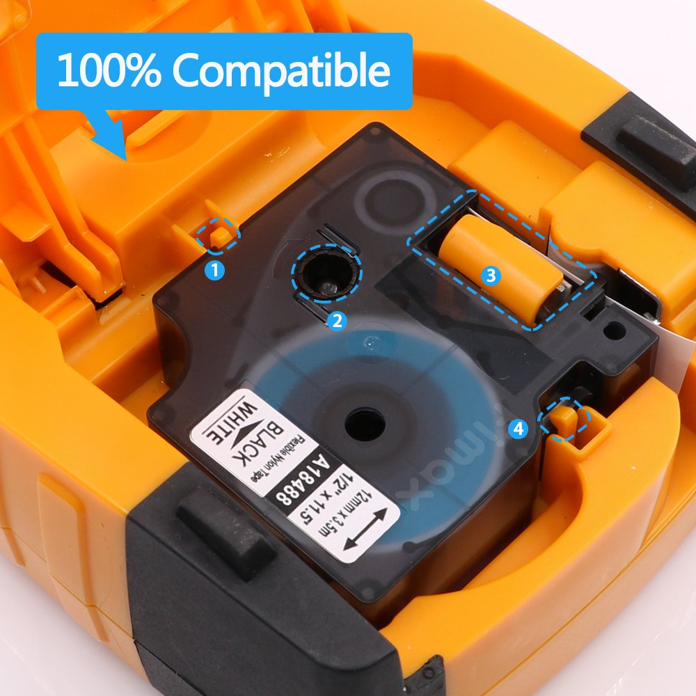 Compatible Dymo Industrial Labels Black On White 18488 Labeling Tool Qwerty Keyboard 1801611 Label Makers Electronics Flexible Nylon For Rhinopro 4200 5000 5200 6000 1 2