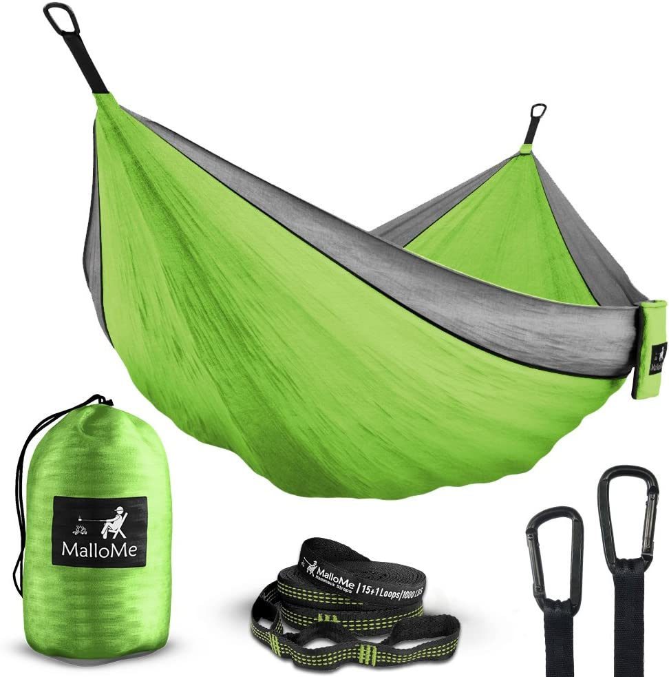 MalloMe Double /& Single Portable Camping Hammock Parachute Lightweight Nylon with Hammok Tree Straps Set 2 Person Equipment Kids Accessories Max 1000 lbs Breaking Capacity Free 2 Carabiners