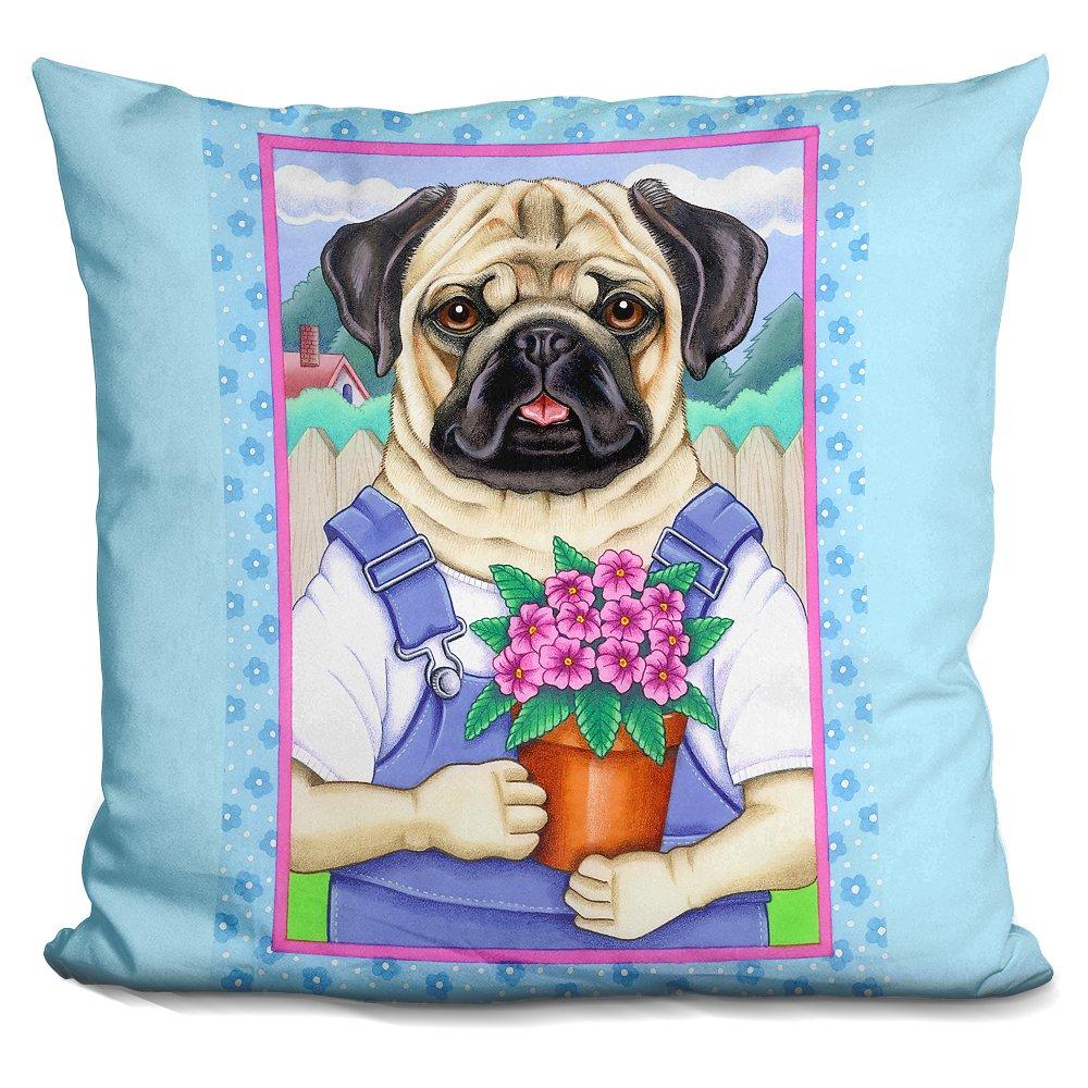 LiLiPi Pug Flower Pot Decorative Accent Throw Pillow