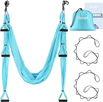 Gonex Aerial Yoga Swing Set, Yoga Hammock Trapeze Sling Kit with Instruction Antigravity Ceiling Hanging Yoga Swing