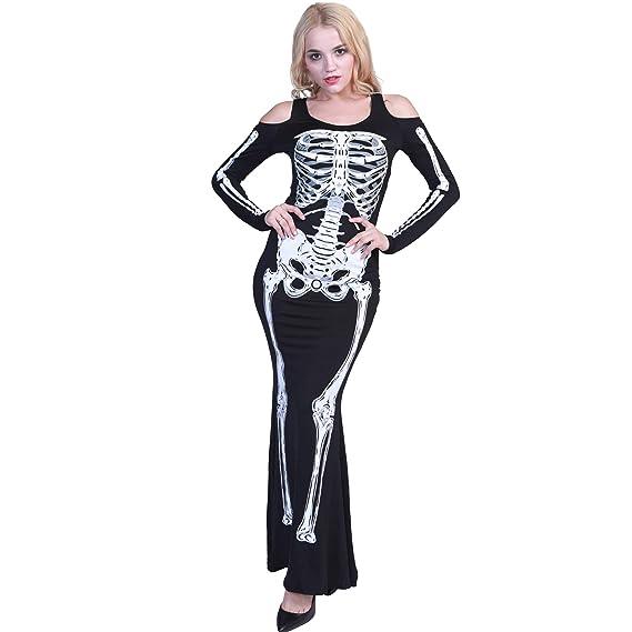 EraSpooky Donna Lunghe Vestito Scheletro Costume Party Halloween  Amazon.it   Abbigliamento 80ed6fe40d3e