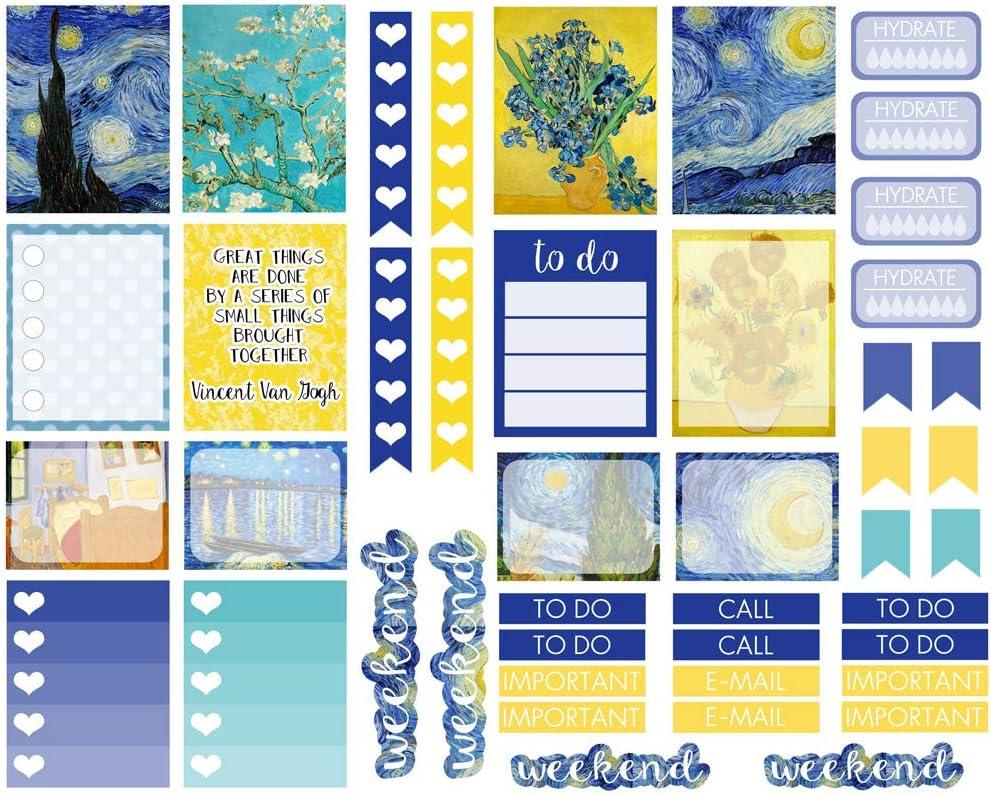 Seasonstorm Van Gogh Painting Style Pattern Kawaii Aesthetic Pastel Art Agenda Journal Planner Stationery Stickers