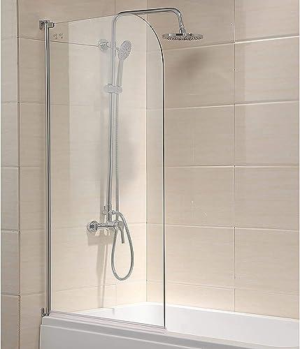 Mecor 55 X31 Bathtub Shower Door 1 4 Clear Glass Hinged Pivot Radius Frameless Chrome Finish