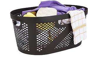 Mind Reader HHAMP40-BRN, Laundry, Storage, Bathroom, Bedroom, Home, 40 L, Brown 40 Liter Clothes Basket