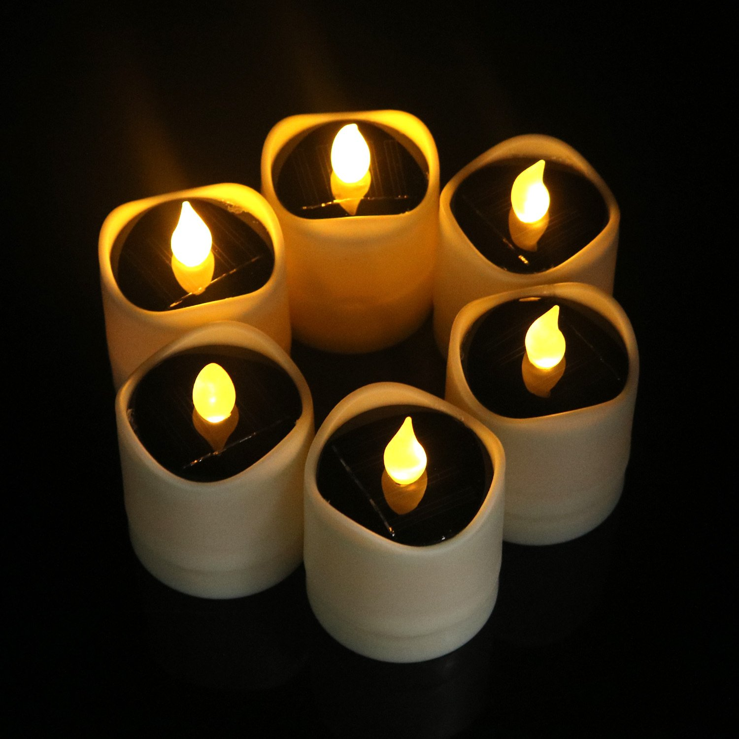 6 Pcs Solar LED Candles Waterproof Romantic Electronic Tealight Solar Candles Fake Candles Solar Emergency Night Light for Camping Traveling Outdoor Home Party Decoration (Amber-yellow Flickering) by Little bees (Image #2)