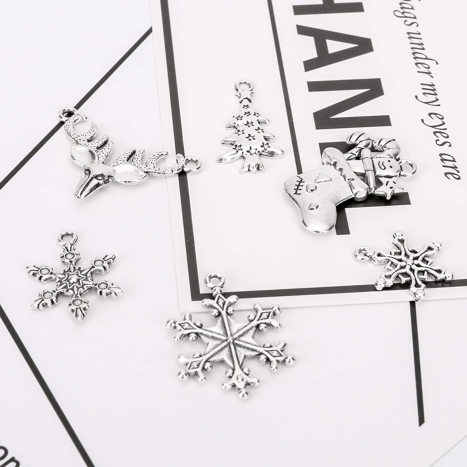 Konsait 120Pack Christmas Charms Bulk Antique Silver Pendants Christmas Pendant Accessory Mixed Craft Supplies Beads Pendants for Necklace Bracelet Jewelry Making Crafting and Christmas Ornaments