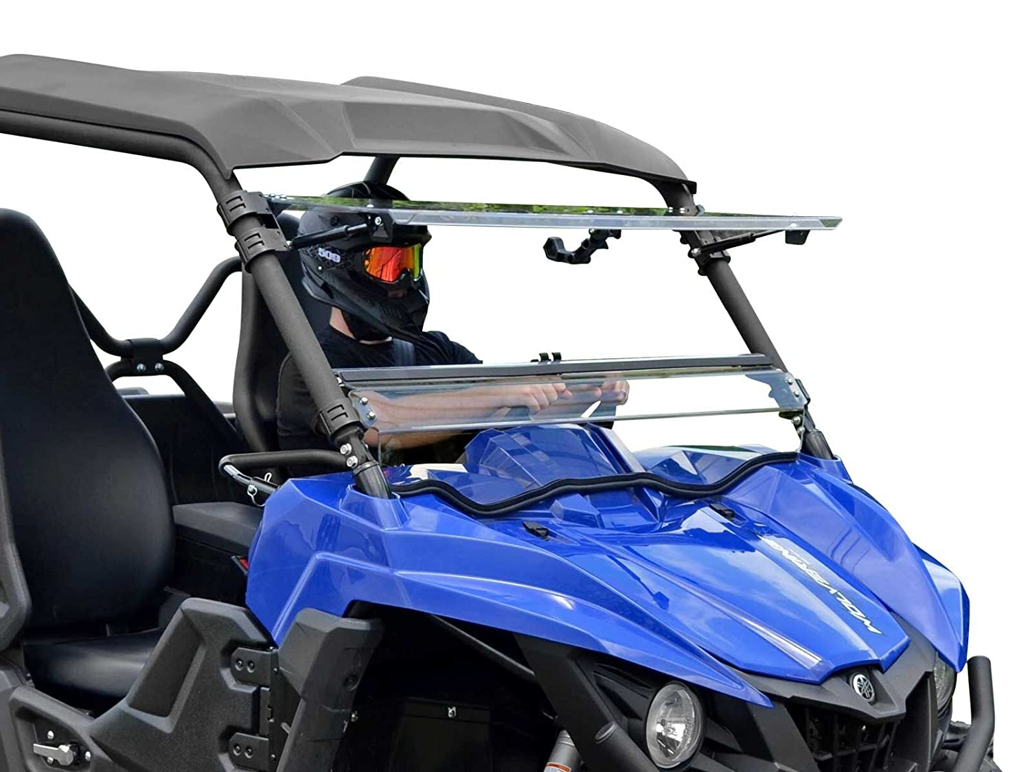 SuperATV Heavy Duty Scratch Resistant 3-IN-1 Flip Windshield for Yamaha Wolverine (2015+) - Does NOT Fit X2 or X4 Models - Has 3 Different Settings! SuperATV.com FWS-Y-WV-70