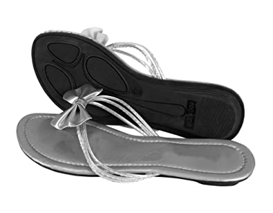 a061d923537 Peach Couture Women s Bow Sequin Embellished Flat Flip Flop Thong Slip on  Sandal Silver 8