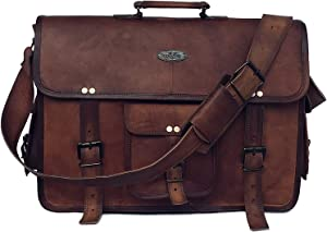 18 Inch Retro Buffalo Hunter Leather Laptop Messenger Bag Office Briefcase College Bag for Men and Women (Brown 18 inch)