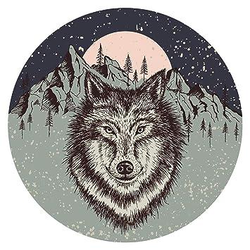 Pegatina de pared Salón Lobo a la luz de la luna con paisaje de ...