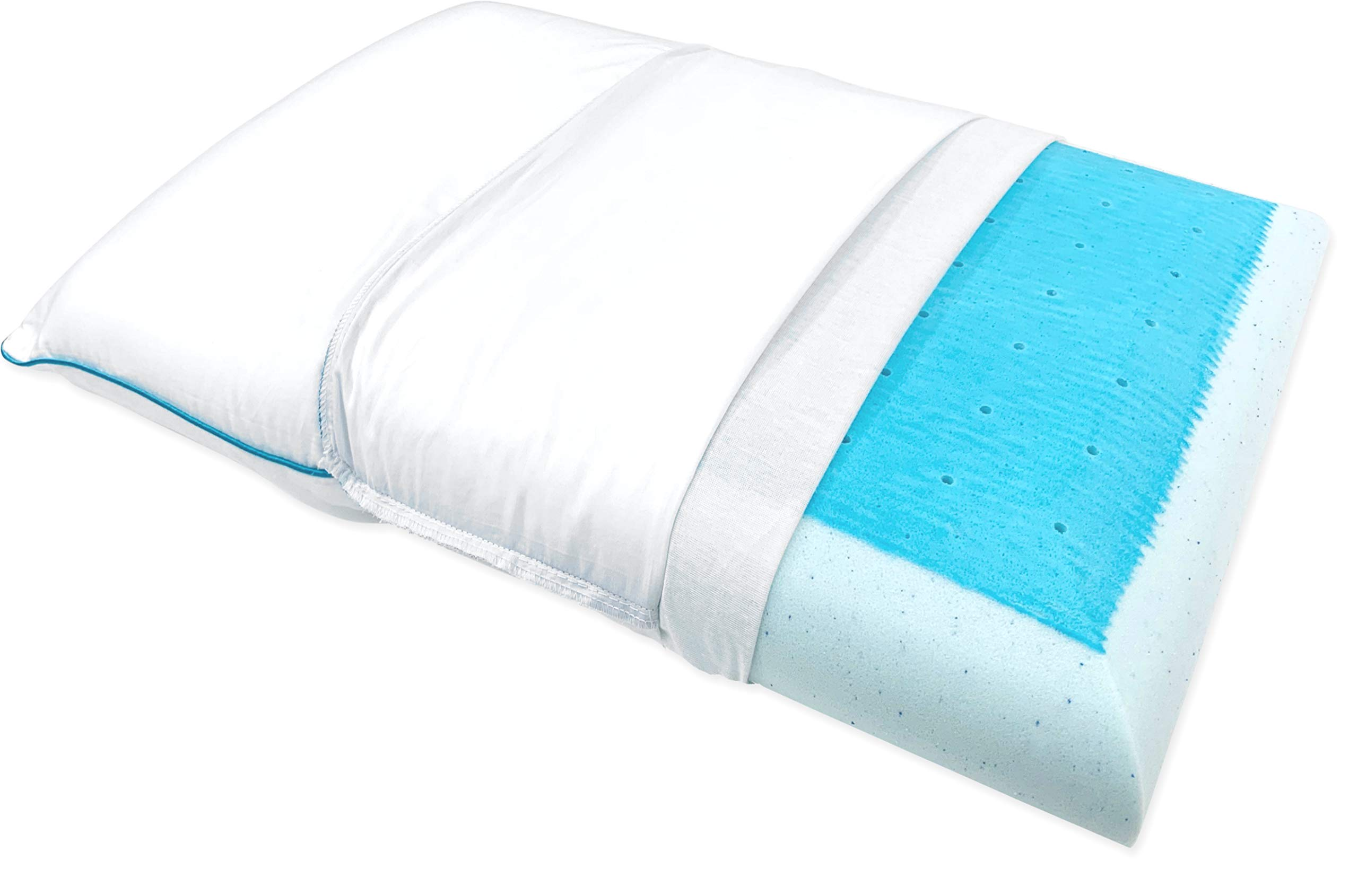 Bluewave Bedding Super Slim Max Cool Gel Memory Foam Pillow for Stomach and Back Sleepers - Thin and Flat Therapeutic Design for Spinal Alignment, Better Breathing and Enhanced Sleeping