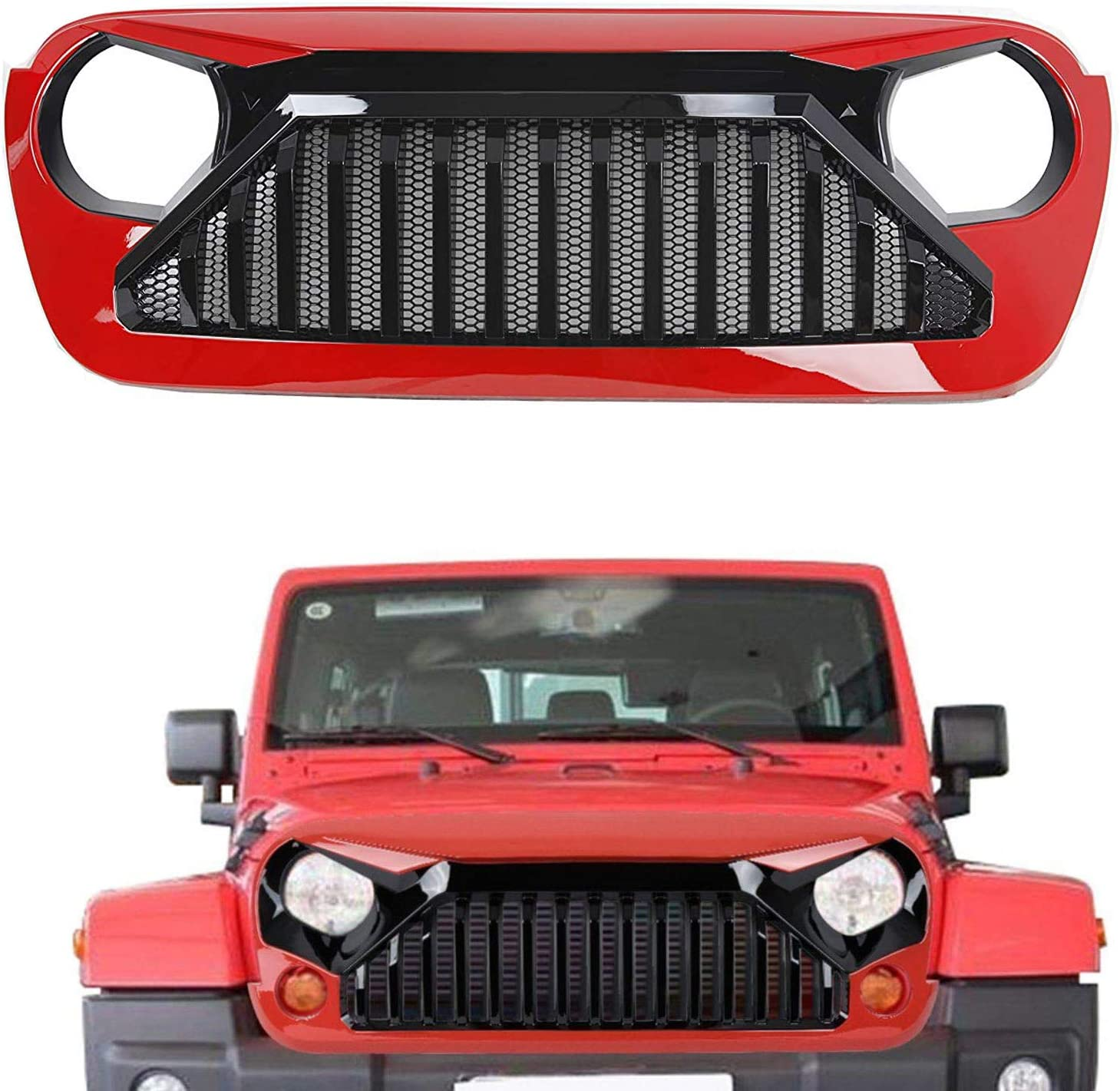 Front Grill Grid Grille,Replacement Part ABS Front Bumper Grill Grille for Jeep Wrangler JL 2018-2019 2020 Jeep Gladiator JT