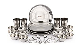 Pigeon Stainless Steel Dinnerware Set 28-Pieces Silver  sc 1 st  Amazon.com : steel tableware - pezcame.com