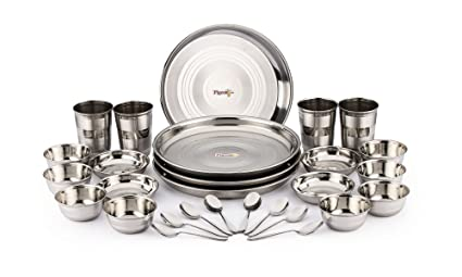 Pigeon Stainless Steel Dinnerware Set 28-Pieces Silver  sc 1 st  Amazon.in & Buy Pigeon Stainless Steel Dinnerware Set 28-Pieces Silver Online ...