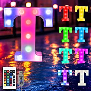 16 Color Changing Marquee Letter Light,Light Up Colorful 26 Alphabet Signs – Home Decor Name Signs – USB Powered LED Remote Timer – Lighted Vintage Accessories & Decorations-T