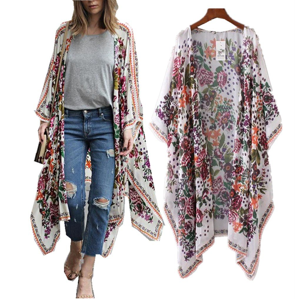 haoricu Women Cardigan, Womens Open Front Floral Print Chiffon Loose Shawl Kimono Cover up Shirt (Asian Size:S, White)