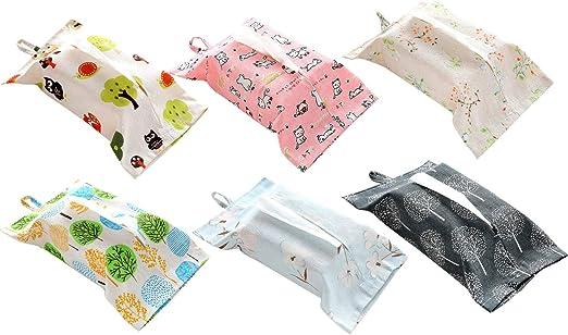Gosear 6 unids Tela de algodón Toallitas húmedas Estuche de Almacenamiento de la Bolsa de Papel de pañuelo Facial para el hogar Dormitorio Oficina Estilos Surtidos aleatorios: Amazon.es: Hogar