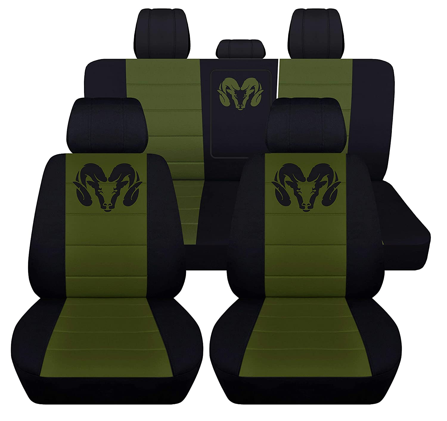 40 20 40 Front and Rear Seat Covers for 2013 to 2018 Dodge Ram 22 Color Options (Solid Rear Bench, Black Charcoal) Designcovers