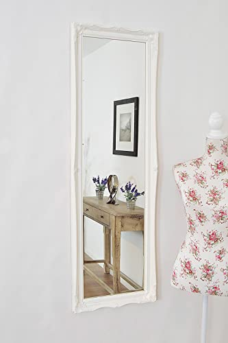 FULL LENGTH WHITE Dressing/Hall Mirror complete with Premium Quality Pilkington's Glass - Size: 49 inches x 16 inches (124cm x 40cm)