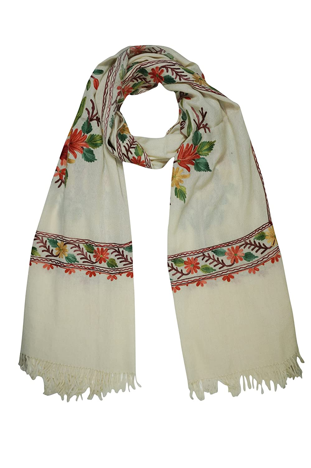 Luxurious Hand Embroidered Shawl Scarf Stole Wrap Fine Kashmiri Wool white Ivory