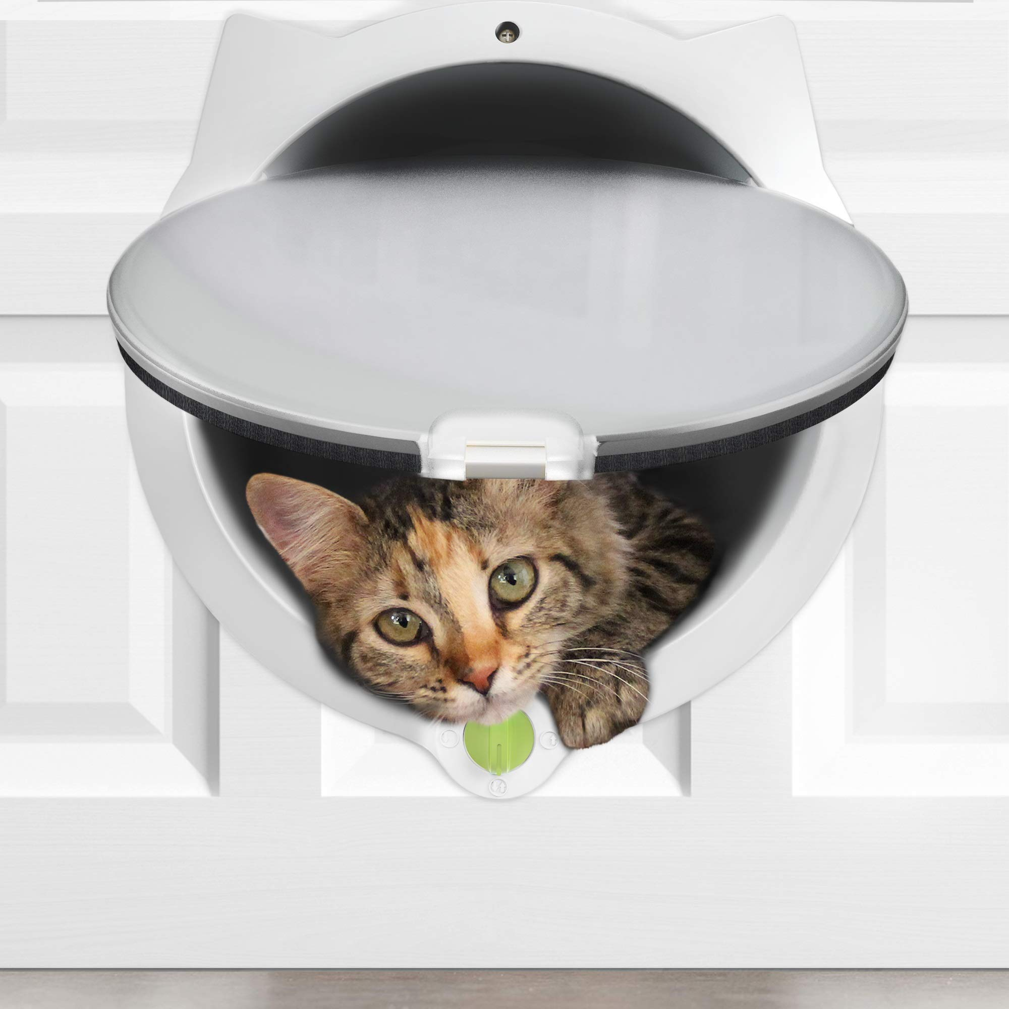 LYNX Cat Door for Pets - 4 Way Locking Cat Flap - for Interior Doors & Exterior Doors, Wall or Hidden Cat Litter Box - Easy & Quick Installation - Kitty Training Tips Included (Off-White) by LYNX (Image #1)