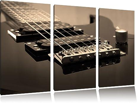 Negro guitarra eléctrica (negro/blanco de 3 piezas imagen lienzo 120 x 80 imagen sobre lienzo, ...