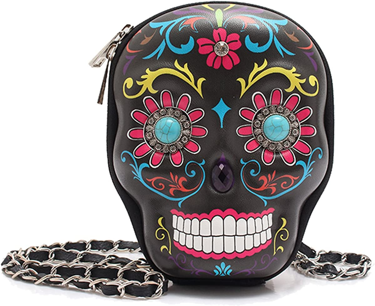 Sugar Skull Rhinestone Black Hipster Cross Body Bag Messenger Purse Shoulderbag