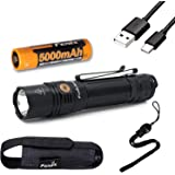 Fenix PD36R 1600 Lumen USB rechargeable CREE LED tactical Flashlight with EdisonBright charging cable carry case bundle