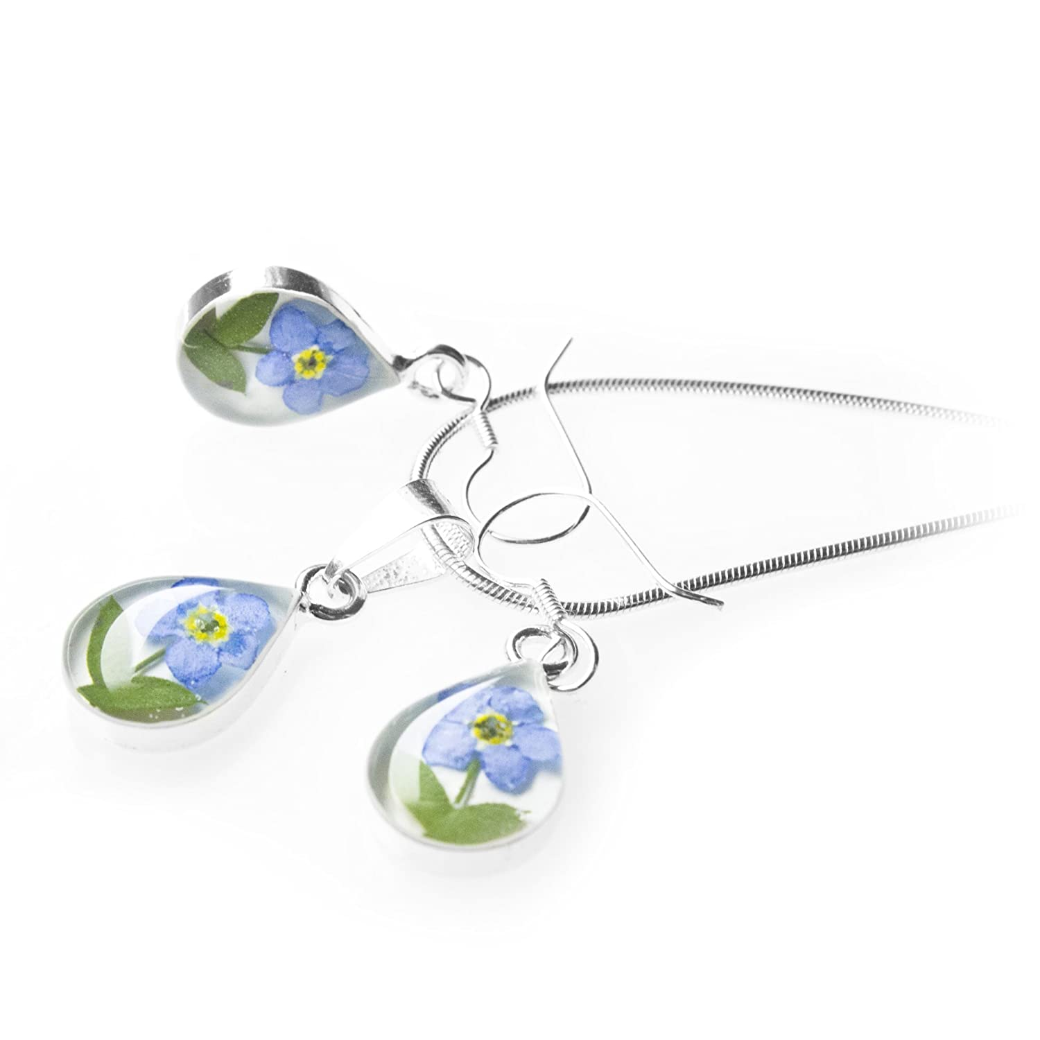 with Real Pressed Forget Me Not Flowers Symbol of Eternal Love in a White Background and 17.7 Mouse Tail Chain Floral Jewelry Sterling Silver Teardrop Necklace and Earrings by TAMI
