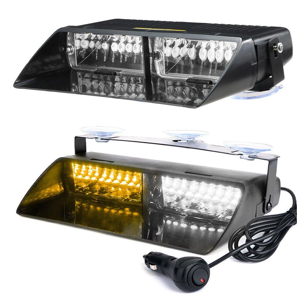 KKmoon 1pezzo 16 LED 18 luci Lampeggianti per Il Flash di Emergenza del cruscotto dellautomobile Luce Bianca