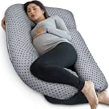 PharMeDoc Pregnancy Pillow with Jersey Cover, U Shaped Full Body Pillow (Grey with Star Pattern)