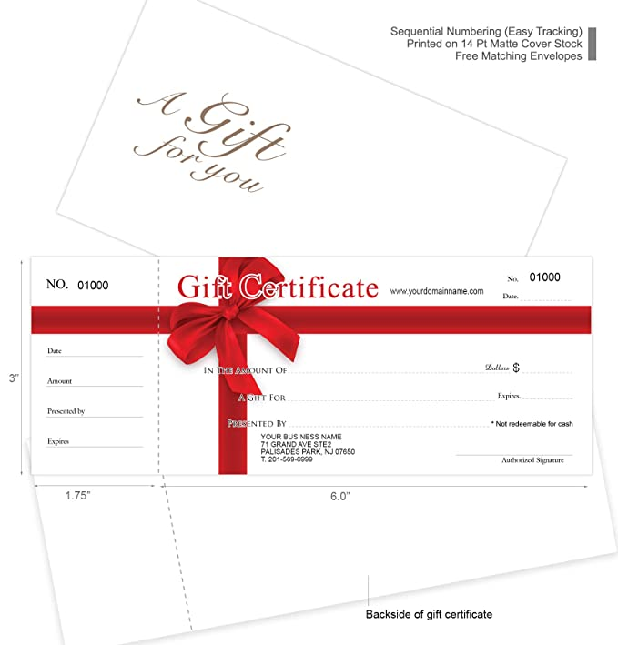 Custom Gift Certificates Cards With Envelopes 50 Set RED RIBBON CouponsVouchers For Small BusinessSpaMakeupHair Beauty SalonRestaurantWedding