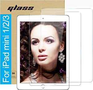 (2 Pack ) Amuoc Tempered Glass Film for Apple iPad Mini 1 2 3 (Not Mini 4/5) Screen Protector ,HD Anti Scratch, Bubble Free(Please Confirm Your Ipad Model to Avoid Errors)