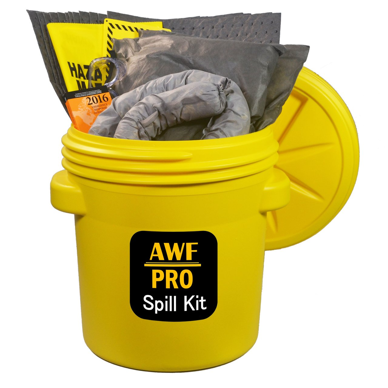 """20 Gallon Universal Spill Kit Includes Overpack Drum,12 Pads 15""""x19"""", 3 Socks 3""""x12', 2 Pillows 18""""x18"""", Chemical Gloves, 3 Hazmat Bags, Safety Goggles, Emergency Guide Book,Spill Kit Sign"""