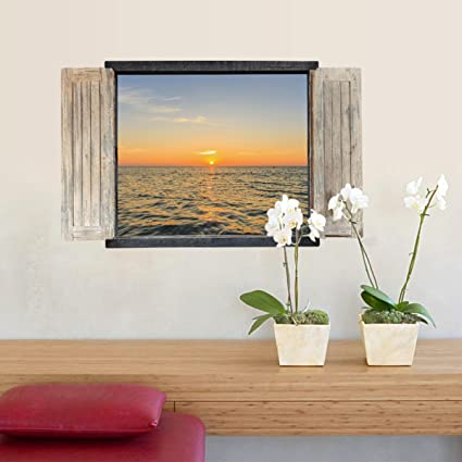 Adesivi Murali Finte Finestre.Hsnzzpp Adesivi Finte Finestre Adesivi Murali Mare Alba Camera Da