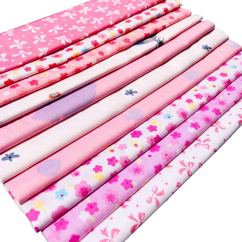Fat Quarter Natural Cotton Quilting Fabric Thick Craft Printed Fabric High Density Bundle Squares Patchwork Lint DIY Sewing 10pcs, Pink flic-flac 20 x 20 inches 51cmx51cm