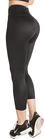 ad1895d400 Fiorella Shapewear Butt Lifter Leggings High Waist Capris Powernet Levanta  Cola Colombianos 401BB Black Large