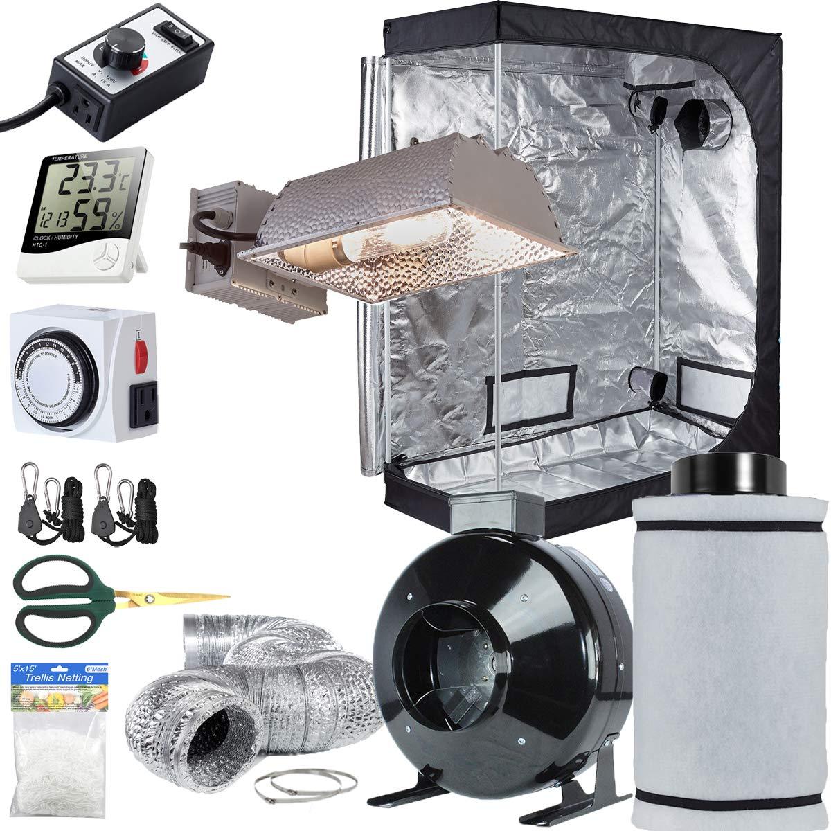 TopoLite Grow Tent Setup Complete Kit CMH 315W Enclosed Grow Light + 6'' Filter Fan Kit + 48''x24''x60'' Dark Room + Hydroponic Indoor Plants Growing System Accessories (48''x24''x60'' Kit)