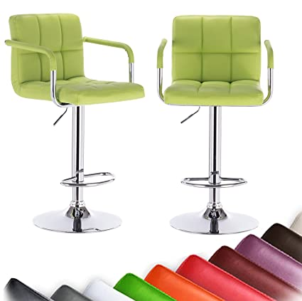 WOLTU ABSX1003agn Bar Stool Swivel Apple Green Bonded Leather Adjustable  Hydraulic Barstools Work Stools Kitchen Stools