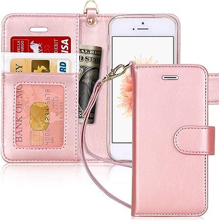 FYY Cover iPhone Se,Cover iPhone 5S,Cover iPhone 5,Flip Custodia Portafoglio [Funzione Staffa] in Premium Pelle PU, con Slot per Schede e Chiusura ...