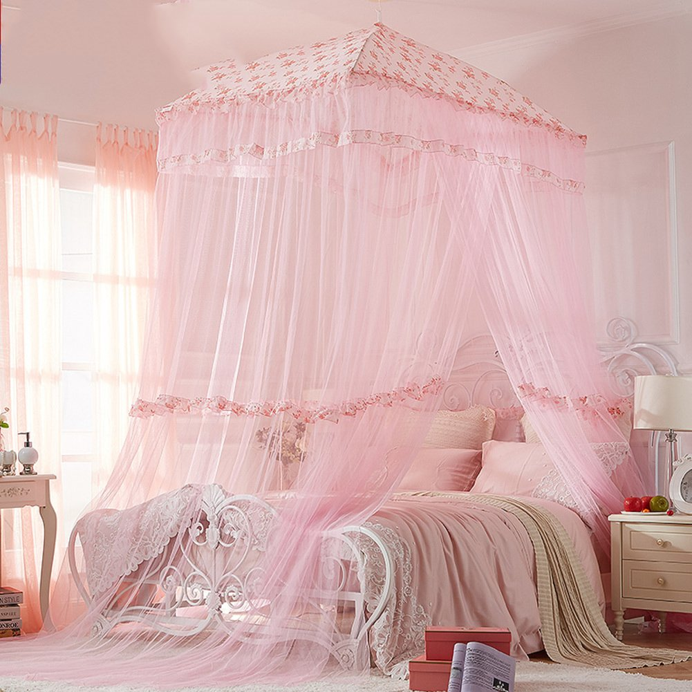 Circular dome bed canopy,Home Princess wind Court Double Premium mosquito net-A Queen1
