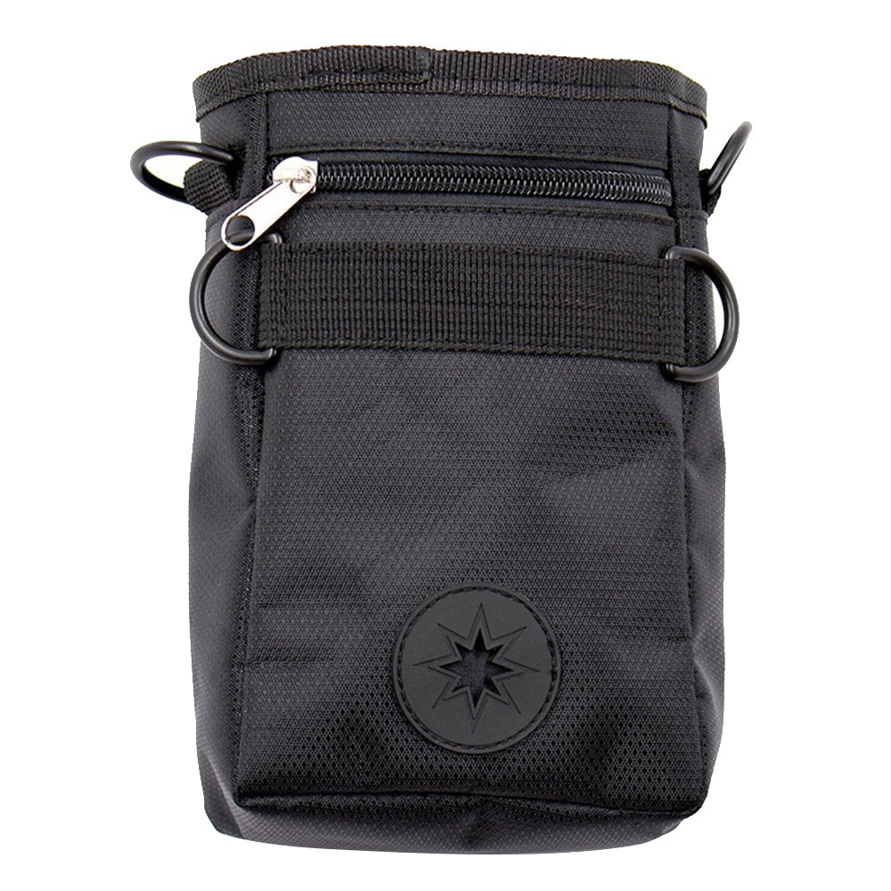 Kangkang@ Dog Pet Treat Training Pouch Snacks Toys Carries Bag Can with Waste Bag Dispenser Adjustable Waist Belt (black)
