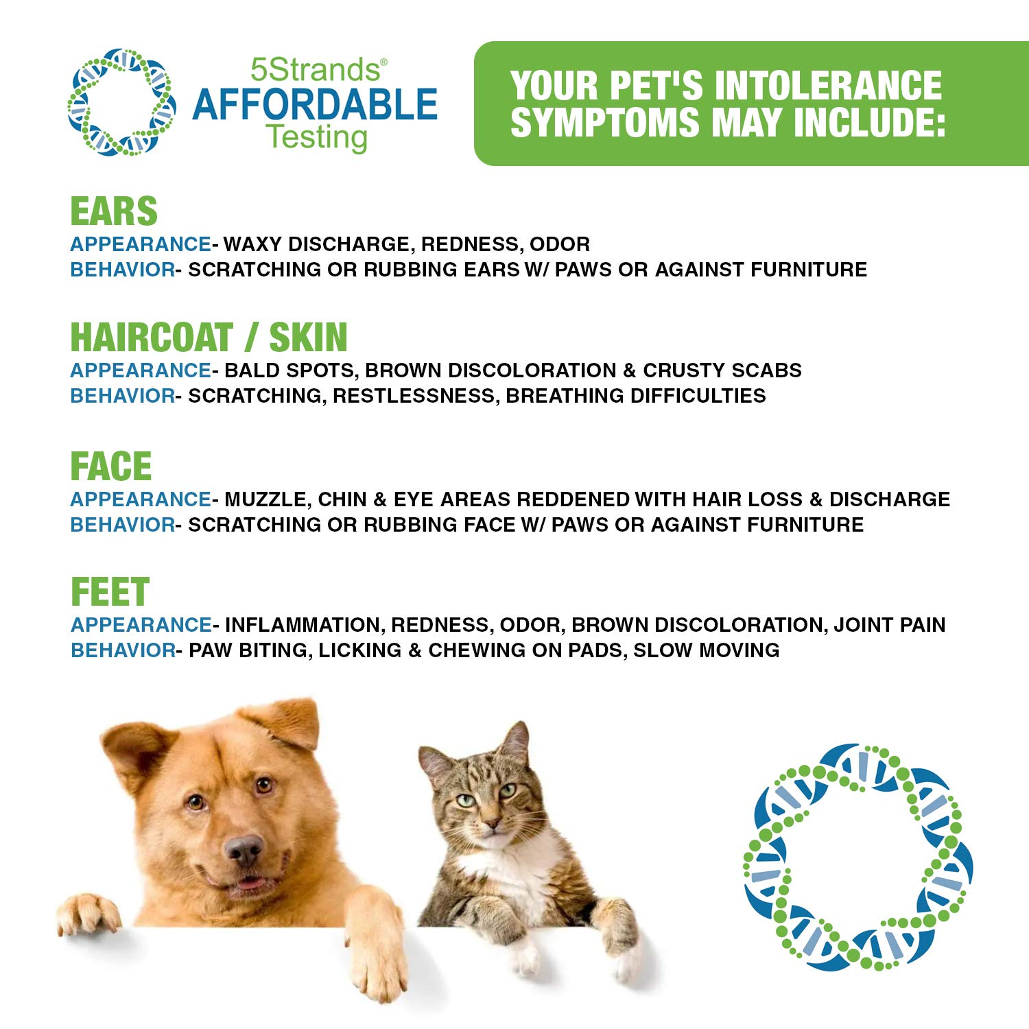 5Strands | Affordable Pet Test | 200 Food Ingredients & 100 Environmental Items Tested Cat & Dog | Allergy Sensitivity & Intolerance at Home Collection Test Kit | Hair Analysis | (Pet 300) by 5Strands (Image #4)