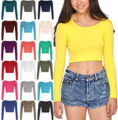 4b55c63707b New Womens Crop TOP Long Sleeve Scoop Crew Neck Ladies Bralet T-Shirt Vest  8-14 (S/M, Coral): Amazon.co.uk: Clothing