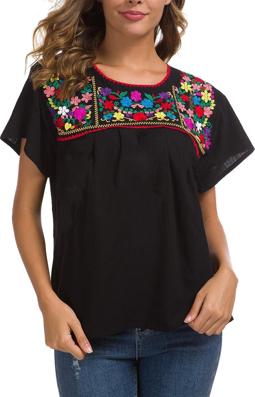 Amazon.com: YZXDORWJ Blusa campesina mexicana bordada: Clothing