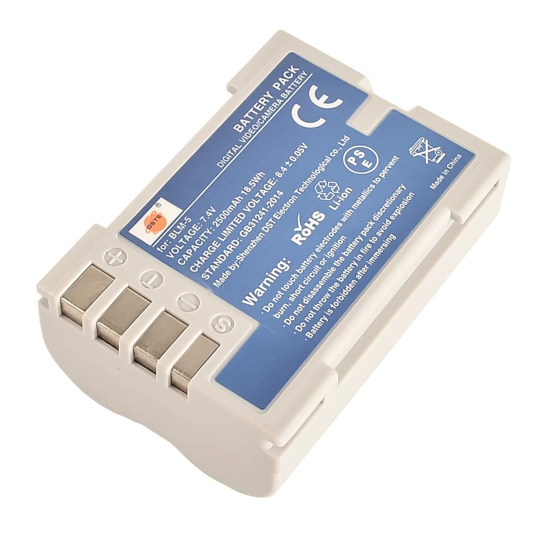 DSTE 2 Piezas de Recambio de bateria BLM-5 Batterie USB Cargador Dual Compatible con Olympus E1 E3 E5 E300 E330 E500 E510 E520 C-5060 C-7070 C-8080