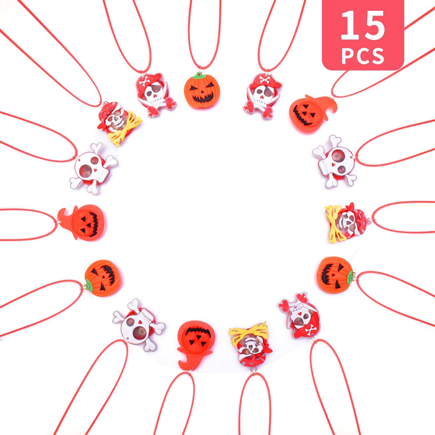 Halloween LED Necklaces Party Favors Set for Kids and Adult with Gift Package Halloween Light up toys Treat Bag Fillers 15pcs by Senhui